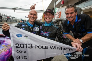 GTC pole winner Damien Faulkner celebrates with Ben Keating and Kevin Buckler