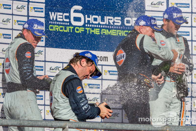 Aston Martin drivers celebrate LMGTE Am win