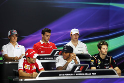 The FIA Press Conference: Esteban Gutierrez, Sauber; Jules Bianchi, Marussia F1 Team; Paul di Resta, Sahara Force India F1; Felipe Massa, Ferrari; Lewis Hamilton, Mercedes AMG F1; Romain Grosjean, Lotus F1 Team