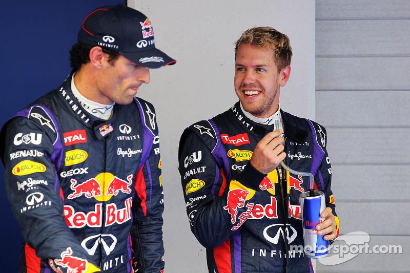 (L to R): Mark Webber, Red Bull Racing with team mate Sebastian Vettel, Red Bull Racing in parc ferm
