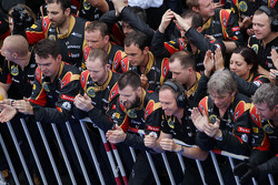 The Lotus F1 Team celebrate at the end of the race