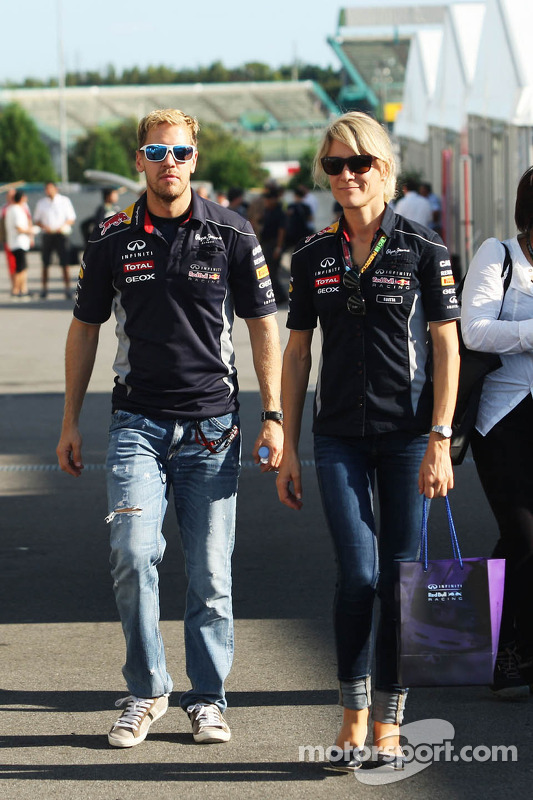 Sebastian Vettel, Red Bull Racing with Britta Roeske, Red Bull Racing Press Officer