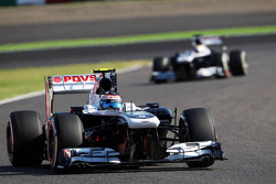 Valtteri Bottas, Williams FW35 leads team mate Pastor Maldonado, Williams FW35