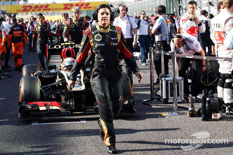 Romain Grosjean, Lotus F1 E21 on the grid