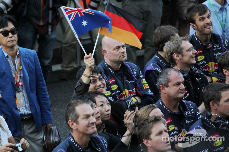 Red Bull Racing celebrates at the podium