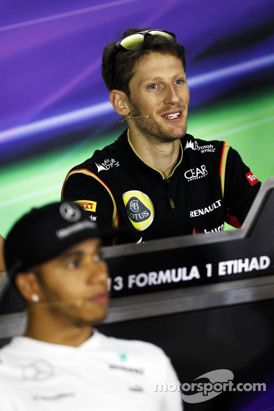 Romain Grosjean, Lotus F1 Team bij de FIA-persconferentie