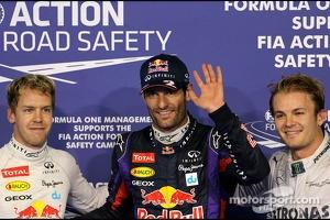 Sebastian Vettel, Red Bull Racing, Mark Webber, Red Bull Racing and Nico Rosberg, Mercedes GP