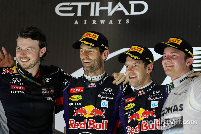 2013: Mark Webber, Red Bull Racing, Sebastian Vettel, Red Bull Racing y Nico Rosberg, Mercedes GP