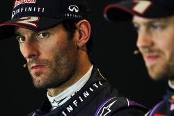 Mark Webber, Red Bull Racing and team mate Sebastian Vettel, Red Bull Racing in the FIA Press Conference