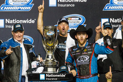 Championship victory lane: NASCAR Nationwide Series 2013 champion Austin Dillon celebrates with Richard Childress and his crew