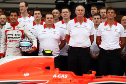 (L to R): Rodolfo Gonzalez, Marussia F1 Team MR02 Reserve Driver; Dave Greenwood, Marussia F1 Team Race Engineer; John Booth, Marussia F1 Team Team Principal; and Graeme Lowdon, Marussia F1 Team Chief Executive Officer at a team photograph