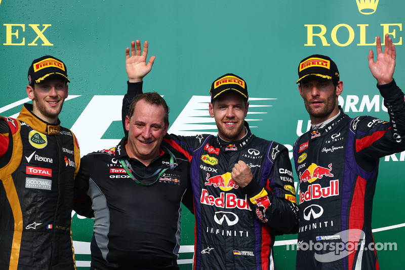 1e plaats Sebastian Vettel, Red Bull Racing, 2e plaats voor Romain Grosjean, Lotus F1 Team en 3e plaats voor Mark Webber, Red Bull Racing
