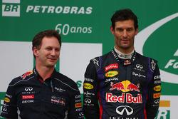 Christian Horner, Chefe de equipe da Red Bull Racing, e Mark Webber, da Red Bull Racing