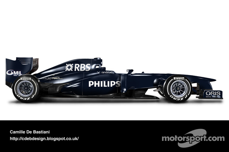 Carro de F1 retrô - Williams 2009 (pintura de pré-temporada)