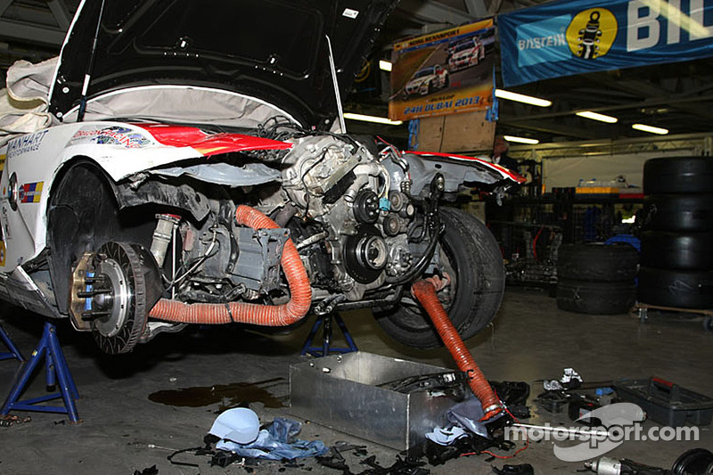 A BMW in pieces