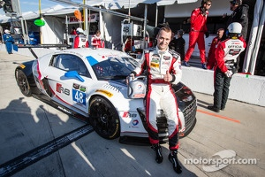 GTD class pole winner Christopher Haase celebrates