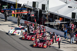 #70 SpeedSource Mazda Mazda: Sylvain Tremblay, Tom Long, James Hinchcliffe, #07 SpeedSource Mazda Mazda: Tristan Nunez, Joel Miller, Tristan Vautier and #78 Starworks Motorsport Riley DP Dinan: Scott Mayer, Alex Popow, Brendon Hartley, EJ Viso, Sebastian