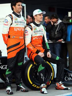 Sergio Pérez, Sahara Force India F1 con Nico Hulkenberg, Sahara Force India F1 en el lanzamiento del