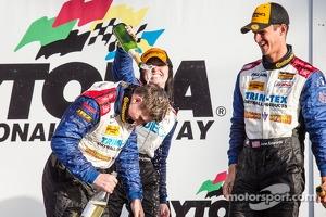 GS podium: champagne for Shelby Blackstock, Ashley Freiberg and John Edwards