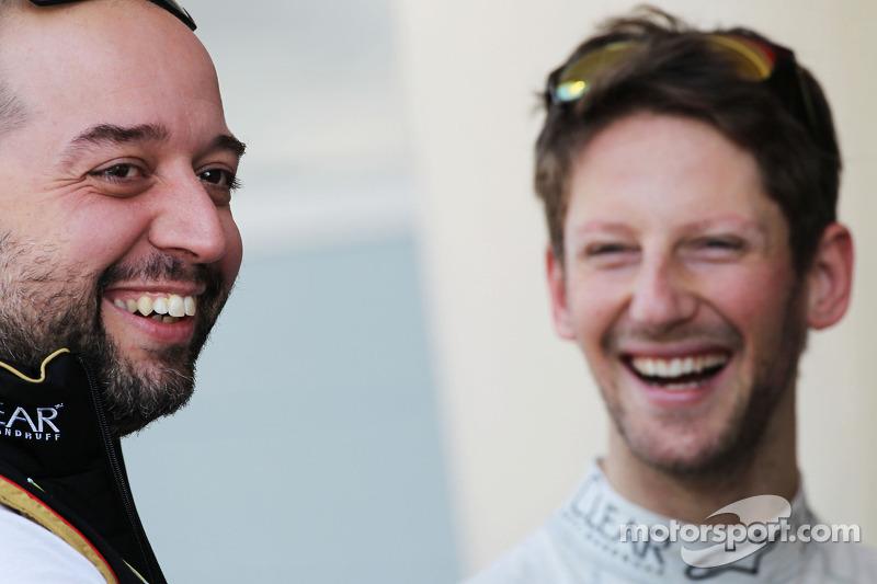 (L to R): Gerard Lopez, Lotus F1 Team Principal with Romain Grosjean, Lotus F1 Team