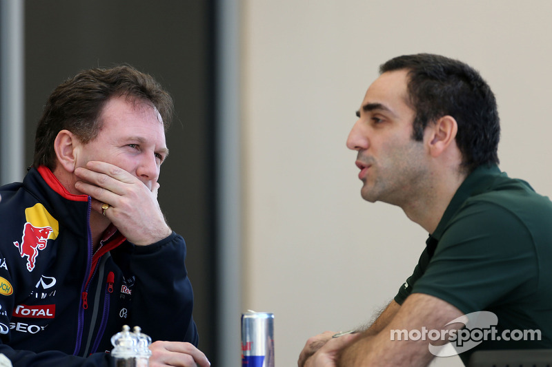 Christian Horner, Red Bull Racing, Sporting Director and Cyril Abiteboul, Team Principal, Caterham F1 Team