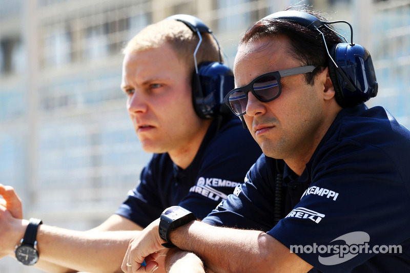 (L to R): Valtteri Bottas, Williams with team mate Felipe Massa, Williams