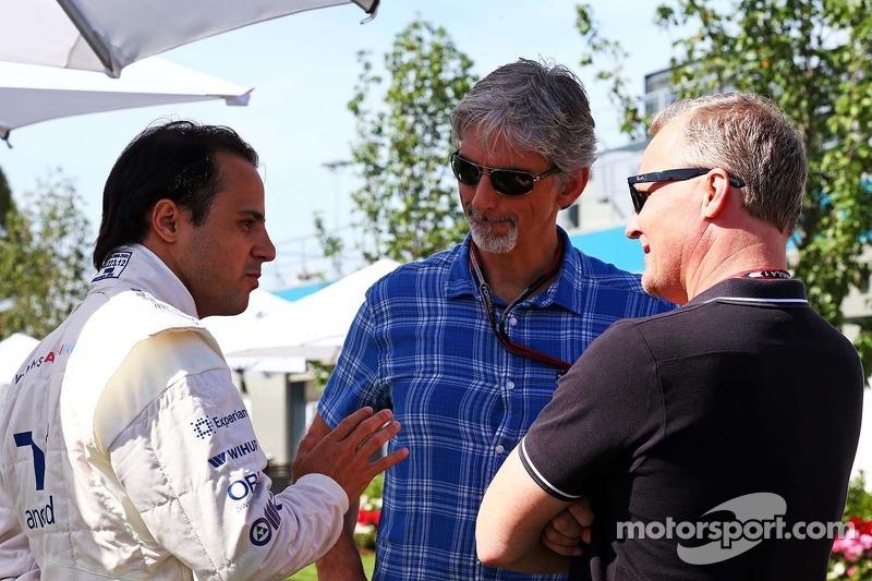 Felipe Massa, Williams with Damon Hill, Sky Sports Presenter and Johnny Herbert, Sky Sports Presente