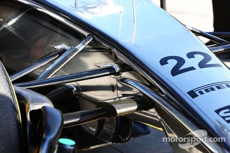 Jenson Button, McLaren MP4-29 dettaglio della sospensione anteriore.
