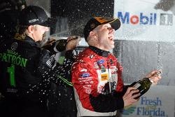 P class podium: winner Marino Franchitti and second place Ryan Dalziel