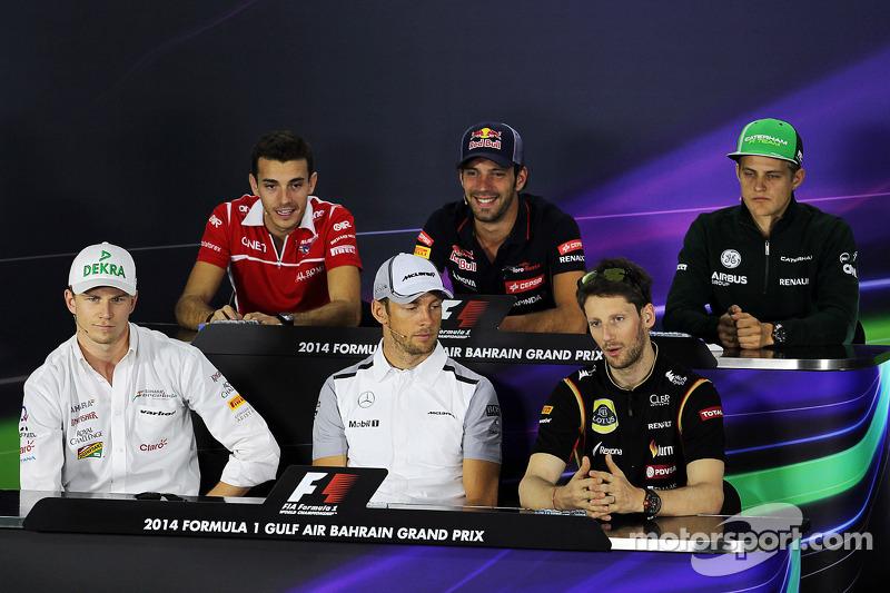 Conferenza stampa FIA: Jules Bianchi, Marussia F1 Team; Jean-Eric Vergne, Scuderia Toro Rosso; Marcus Ericsson, Caterham; Nico Hulkenberg, Sahara Force India F1; Jenson Button, McLaren; Romain Grosjean, Lotus F1 Team