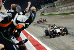 Third placed Sergio Perez, Sahara Force India F1 VJM07 celebrates as he passes his team