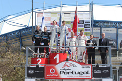 Winners Sébastien Ogier and Julien Ingrassia,second place Mikko Hirvonen and Jarmo Lehtinen, third place Mads Ostberg and Jonas Andersson
