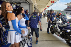 Lovely girls in the Yamaha garage