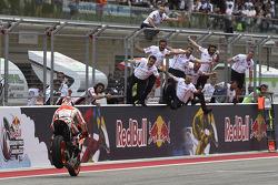 Race winner Marc Marquez celebrates