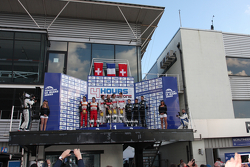 Podium: race winners Pierre Thiriet, Ludovic Badey, Tristan Gommendy, second place Michel Frey, Franck Mailleux, third place Gary Hirsch, Romain Brandela, Christian Klien