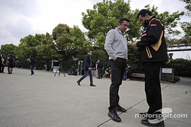 Eric Boullier, McLaren Racing Director with Federico Gastaldi, Lotus F1 Team Deputy Team Principal.
