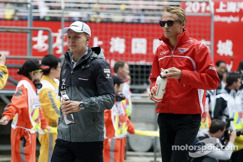 Valtteri Bottas, Williams con Max Chilton, Marussia F1 Team alla parata dei piloti