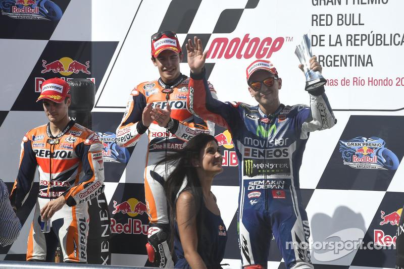 2014: 1. Marc Marquez, 2. Dani Pedrosa, 3. Jorge Lorenzo