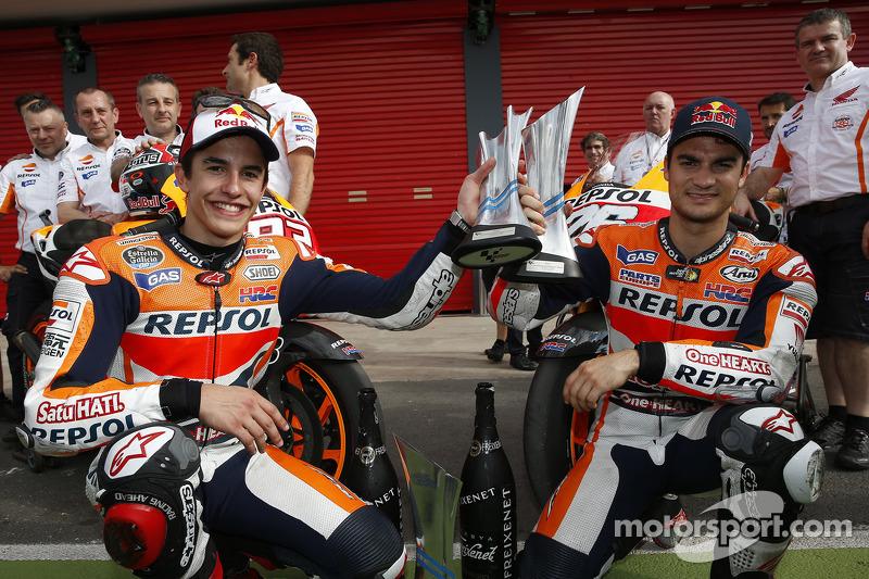 Ganador de la carrera Marc Márquez con el segundo puesto de Dani Pedrosa