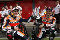 Race winner Marc Marquez with second place Dani Pedrosa