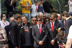 Commemoration ceremony at the Tamburello curve, Fernando Alonso and Kimi Raikkonen