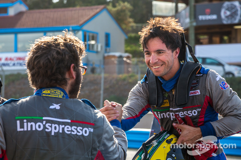 Duncan Ende and Bruno Junqueira celebrate the PC pole