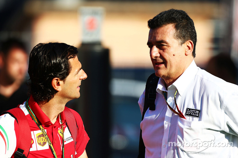 (L to R): Pedro De La Rosa, Ferrari Development Driver with Federico Gastaldi, Lotus F1 Team Deputy