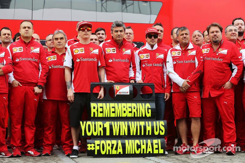(I a D): Kimi Raikkonen, Ferrari, Marco Mattiacci, Ferrari, Fernando Alonso, Ferrari recuerdan el GP en Barcelona de 1996, donde Michael Schumacher, ganó su primer GP con Ferrari