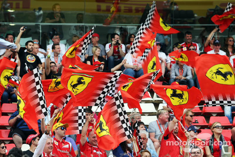 Ferrari fans with flags