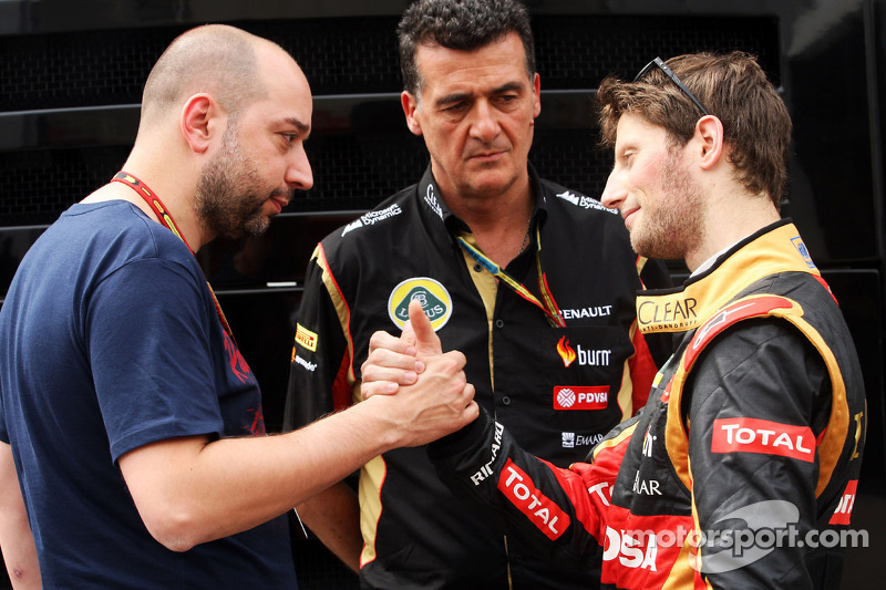 (Soldan Sağa): Gerard Lopez, Lotus F1 Takım Patronu ve Federico Gastaldi, Lotus F1 Takımı Yardımcı Takım Patronu ve Romain Grosjean, Lotus F1 Takımı