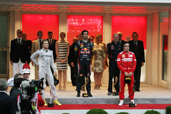 Podium: winnaar Mark Webber, Red Bull Racing, tweede Nico Rosberg, Mercedes AMG F1, derde Fernando Alonso, Ferrari