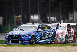 Tim Blanchard, Brad Jones Racing Holden, leads James Golding, Garry Rogers Motorsport Holden