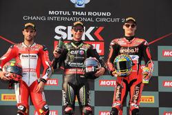 Podio: segundo Xavi Fores, Barni Racing Team, Race primero Jonathan Rea, Kawasaki Racing, tercero Chaz Davies, Aruba.it Racing-Ducati SBK Team