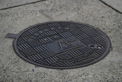 A map of the Shanghai circuit on a manhole cover
